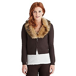 Joe Browns - Chocolate freestyle faux fur cardigan
