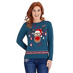 Joe Browns - Dark turquoise festive reindeer jumper
