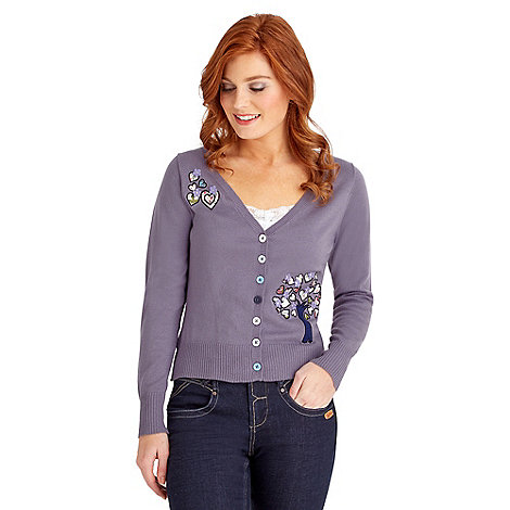 Joe Browns - Lilac tree of life applique cardigan