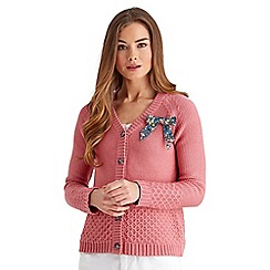 Joe Browns - Pink cosy knit bow cardigan