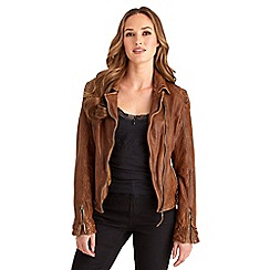 Joe Browns - Tan joe's signature leather jacket