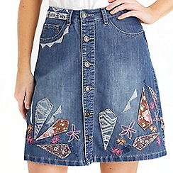 Joe Browns - Mid blue embroidered button through skirt