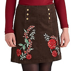 Joe Browns - Chocolate sassy embroidered cord skirt