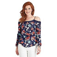 Joe Browns - Multi coloured floral cold shoulder top