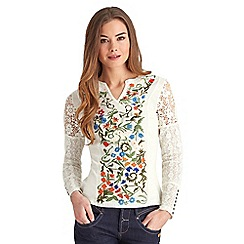 Joe Browns - White floral embroidered top