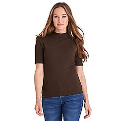 Joe Browns - Chocolate ribbed turtleneck top