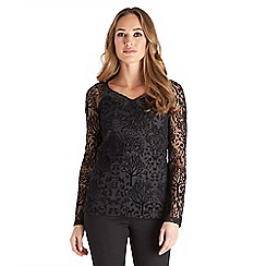 Joe Browns - Black woodland flocked top