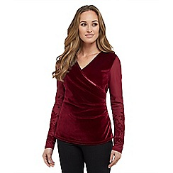 Joe Browns - Dark red party velvet wrap top