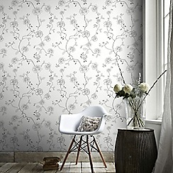 Superfresco Easy - Silver Rose Floral Trail Wallpaper