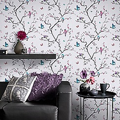 Fresco - Mai Oriental White Tree Bird Print Wallpaper