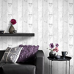 Superfresco - Plank Wood Effect White Love Heart Wallpaper