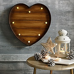 Graham & Brown - Lit Wood Effect Heart Shaped Art
