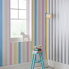 Graham & Brown Kids - Girls Boys Cotton Candy Pastel Stripe Wallpaper