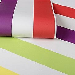 Graham & Brown Kids - Girls Boys Bright Multi Coloured Stripe Wallpaper