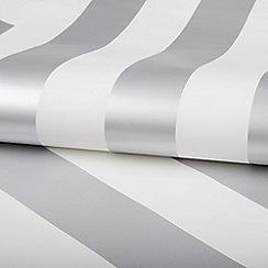 Graham & Brown Kids - Girls Boys Silver & White Metallic Stripe Wallpaper