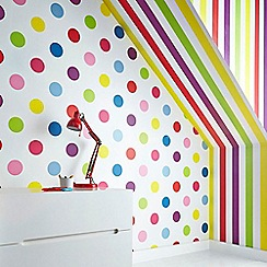 Graham & Brown Kids - Girls Boys Dotty Multi Bright Dot Print Wallpaper