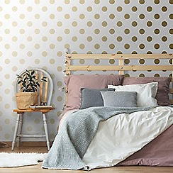 Graham & Brown Kids - Girls Boys Dotty Gold & White Dot Metallic Print Wallpaper