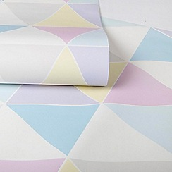 Graham & Brown Kids - Girls Harlequin Multi Coloured Pastels Print Wallpaper