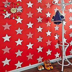 Graham & Brown Kids - Boys Girls Superstar Red & White Star Print Wallpaper