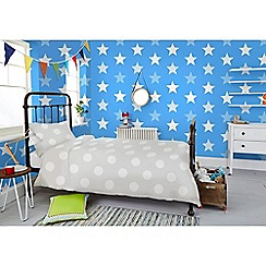 Graham & Brown Kids - Boys Girls Superstar Blue & White Star Print Wallpaper
