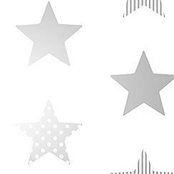 Graham & Brown Kids - Boys Girls Superstar Silver & White Star Print Wallpaper