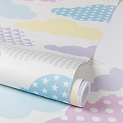 Graham & Brown Kids - Girls Nursery Bedroom Pastel Multi Coloured Marshmallow Clouds Print Wallpaper