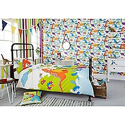 Graham & Brown Kids - Boys Kids Bedroom Nursery Multi Coloured Dinoroar Dinosaur Printed Wallpaper