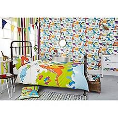 Graham & Brown Kids - Boys Kids Bedroom Nursery Multi Coloured Dinoroar Dinosaur Printed Wallpaper