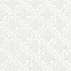 Superfresco - White Paloma Geometric Paintable Wallpaper