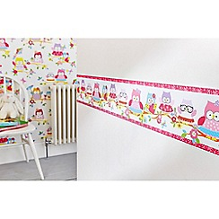 Graham & Brown Kids - Pink Olive The Owl Wallpaper Border
