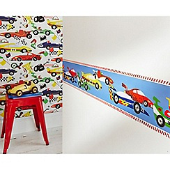 Graham & Brown Kids - Red Car Pit Stop Kids Wallpaper Border