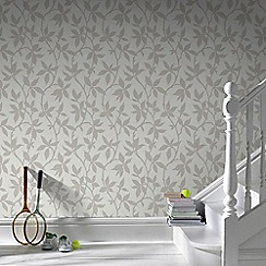 Graham & Brown - Elisa Neutral Leaf Trail Print Wallpaper with Metallic Effects