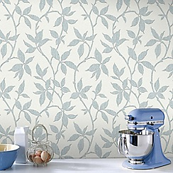 Graham & Brown - Elisa Duck Egg Leaf Trail Print Wallpaper with Metallic Effects
