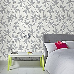 Graham & Brown - Elisa Soft Grey Leaf Trail Print Wallpaper with Metallic Effects