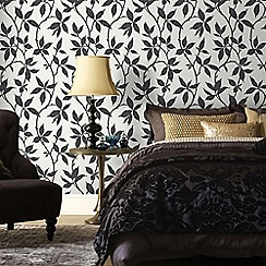 Graham & Brown - Elisa Charcoal Grey Leaf Trail Print Wallpaper with Metallic Effects