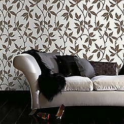 Graham & Brown - Elisa Bronze Leaf Trail Print Wallpaper with Metallic Effects