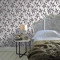 Graham & Brown - Elisa Purple Leaf Trail Print Wallpaper with Metallic Effects
