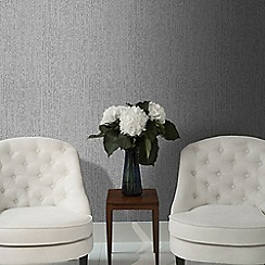 Graham & Brown - Matrix Charcoal Grey Textured Plain Wallpaper