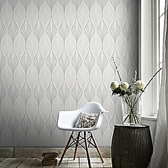 Graham & Brown - Optimum White & Duck Egg Geometric Print Wallpaper with Glitter Highlights