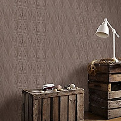Graham & Brown - Optimum Bronze Geometric Print Wallpaper with Glitter Highlights