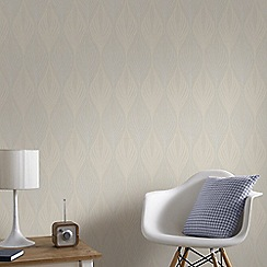 Graham & Brown - Optimum Cream Geometric Print Wallpaper with Glitter Highlights