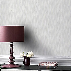 Graham & Brown - Vienna White & Silver Soft Vertical Stripe Wallpaper with Glitter Highlights