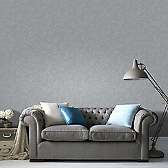 Graham & Brown - Springtime Grey & Silver Subtle Leaf Design Wallpaper