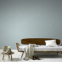 Graham & Brown - Springtime Blue & Grey Subtle Leaf Design Wallpaper