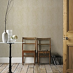Graham & Brown - Cypress Beige & Gold Scandinavian Faux Wood Effect Wallpaper