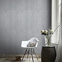 Graham & Brown - Cypress Grey & Silver Scandinavian Faux Wood Effect Wallpaper