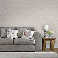 Graham & Brown - Breeze Rose Gold & Pebble Linear Subtle Textured Metallic Print Wallpaper