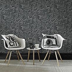 Graham & Brown - Marbled Black & Grey Subtle Shimmer Print Wallpaper