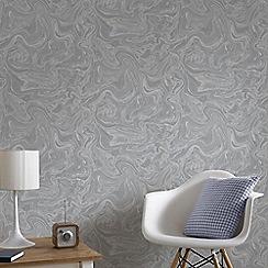 Graham & Brown - Marbled Grey & Silver Subtle Shimmer Print Wallpaper