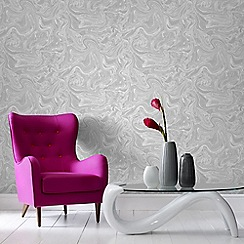 Graham & Brown - Marbled Grey & White Subtle Shimmer Print Wallpaper